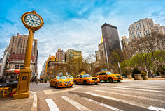 Yellow taxis on 5th Avenue, new York City, USA. Stock Photos
