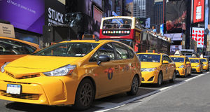 Yellow Taxis in Times Square Royalty Free Stock Images