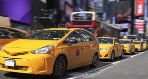 Yellow Taxis in Times Square Royalty Free Stock Image