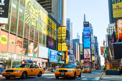 Yellow taxis at Times Square in New York City Royalty Free Stock Photo
