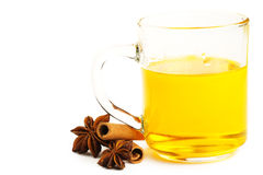 Yellow tea cinnamon sticks and star anise Stock Images