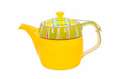 Yellow teapot isolated Stock Image