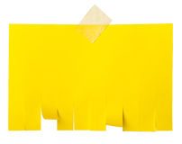 Yellow tear off paper notice with copy space Royalty Free Stock Photos