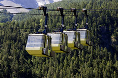 Yellow Teleferic of Monetier Les Bains Royalty Free Stock Photography