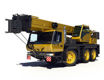 Yellow Telescopic Crane.  on white backgroung Royalty Free Stock Images
