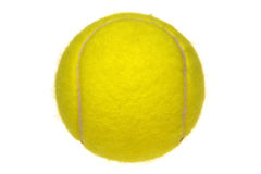 Yellow Tennis Ball Isolated on White. Bright fluorescent yellow tennis ball isolated on white Royalty Free Stock Image