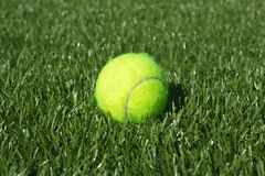 Yellow tennis ball lays on synthetic grass court closeup Royalty Free Stock Photography