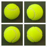Yellow Tennis Balls - 12. New yellow tennis balls on a green court Royalty Free Stock Images