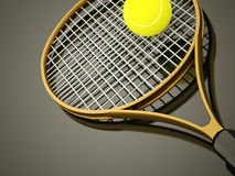 Yellow tennis racket with ball Royalty Free Stock Images