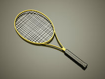 Yellow tennis racket rendered Stock Images