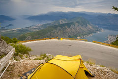 Yellow tent, aerial view on Kotor bay - Montenegro Stock Photography