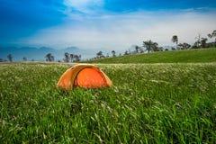 Yellow tent Field Wonderful Land Stock Image