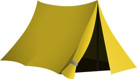 Yellow tent with open entrance Royalty Free Stock Photo