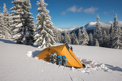 Yellow tent and snowshoes standing side by side Stock Images