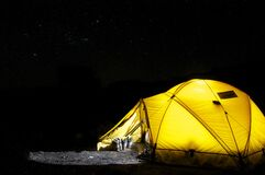 Yellow Tent Under Starry Night stock image