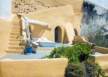 Yellow Santorini terrace 3, Greece Royalty Free Stock Photo