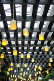 Yellow terrace lamps Stock Photography