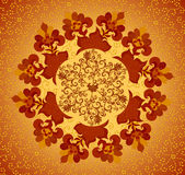 Yellow and terracotta circular floral pattern Stock Photos