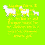 Yellow text with a green background and sheep. Royalty Free Stock Image