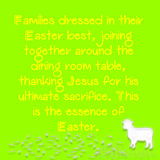 Yellow text with a green background and sheep with white leaves Royalty Free Stock Image