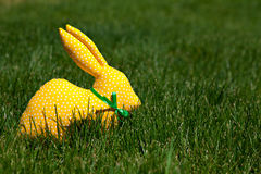 Yellow textile rabbit Royalty Free Stock Images