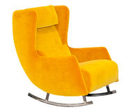 Yellow textile rocking chair isolated Royalty Free Stock Photos