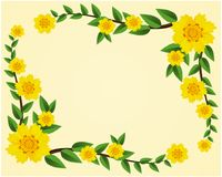 Yellow texture Blossom Flowers with green leaf on golden background decorated frame with vine background texture with space vector royalty free illustration