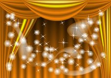 Yellow theater draped curtain Royalty Free Stock Photo