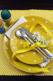 Yellow theme Easter dining table setting - vertical Royalty Free Stock Image