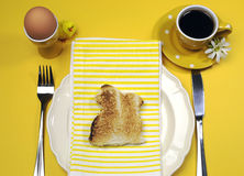 Yellow theme Happy Easter breakfast table with bunny rabbit toast Royalty Free Stock Photography