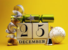 Yellow theme save the date white calendar for Christmas Day, December 25. Yellow theme save the date white calendar for Christmas Day, December 25, with festive Stock Image