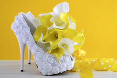 Yellow theme wedding shoes and bouquet Royalty Free Stock Photo