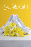 Yellow theme wedding shoes and bouquet Royalty Free Stock Photography
