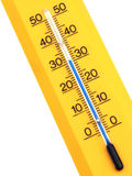 Yellow Thermometer. An isolated yellow thermometer that displays 31°C Royalty Free Stock Photos