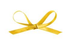 Yellow  thin ribbon bow Stock Images