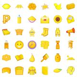 Yellow thing icons set, cartoon style Royalty Free Stock Image
