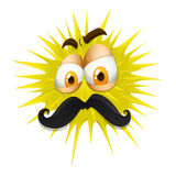Yellow thorny ball with mustache Stock Photos
