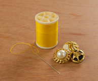 Yellow thread Stock Image