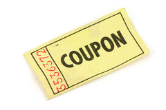Yellow ticket. A yellow ticket on white background Stock Images