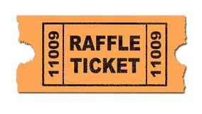 Raffle Ticket Isolated. A yellow ticket for a raffle on a white background royalty free illustration