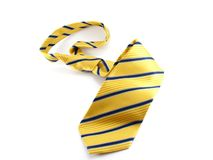 Yellow Tie. With blue stripes Stock Image