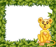 A yellow tiger in a leafy frame Stock Image