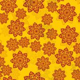 Yellow Tile With Henna Color Mandala-like flowers vector background with ornament of half-transparent mandalas. Royalty Free Stock Photos