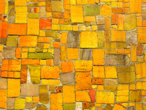 Yellow tiles mosaic - random pattern. Ceramic tile mosaic. Irregular shapes. Random spread Royalty Free Stock Image