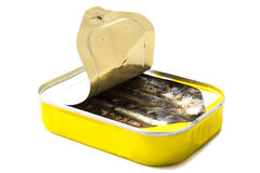 Yellow tin can with fish Stock Photo
