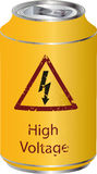 Yellow tin with a high voltage drink Stock Photo
