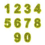 Yellow tinsel digits on white Stock Image