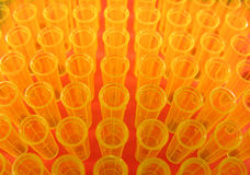 Yellow Tips. Yellow pipette tips used in a lab Royalty Free Stock Photos