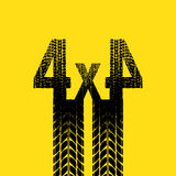 Yellow tire track 4x4 background. Yellow background with black tire track silhouette. eps10 Stock Images
