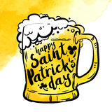 Yellow Toby jug with beer and inscription on watercolor background. Calligraphy Happy St. Patrick`s day, design element. Banner. Vector illustration Stock Illustration